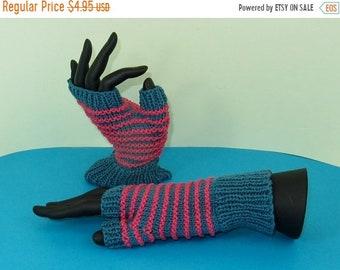 HALF PRICE SALE Instant Digital File pdf download Knitting pattern only - Stripe Pattern Fingerless Gloves knitting pattern