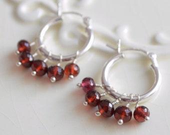 Real Garnet Hoops, Gemstone Earrings, Child Children Girl, Dark Red, Genuine January Birthstone, Wire Wrapped, Sterling Silver Jewelry
