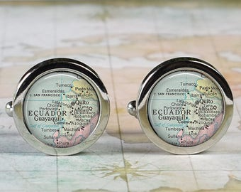 Ecuador cuff links, Ecuador map cufflinks wedding gift anniversary gift for groom gift for men groomsmen gift for best man Father's Day gift