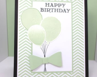 Handmade Birthday Card: Stampin Up, Birthday Balloons, Happy Birthday Bow