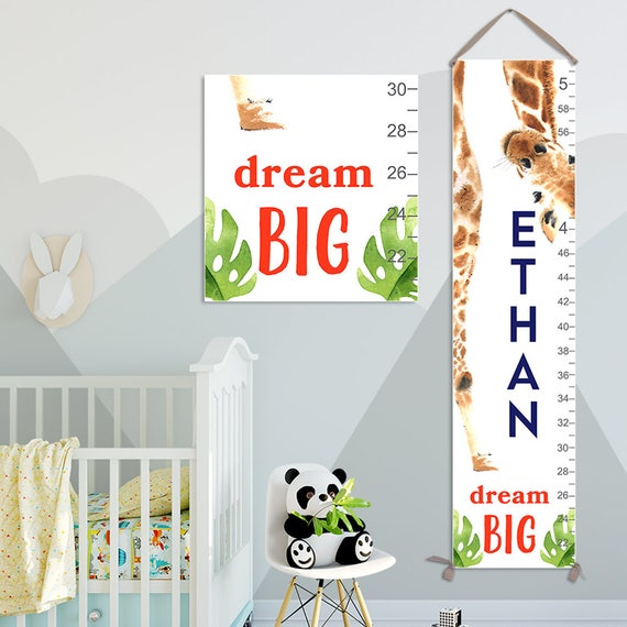 Giraffe Growth Chart - Personalized Canvas Growth Chart, Giraffe, Giraffe Gift, Giraffe Print, Jungle Baby, Animal Prints  - GC4011SW