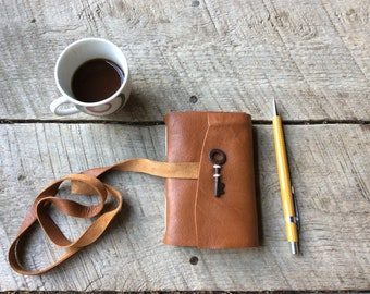 Mini Rust Brown Leather Handmade Pocket Journal with Skeleton Key for Travel Sketch Doodle Notes Gift Idea