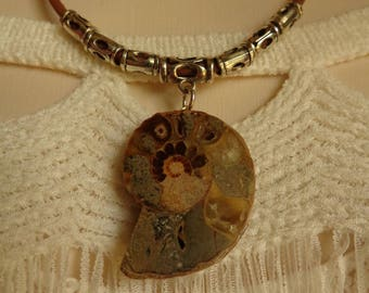 Ammonite and Leather Necklace