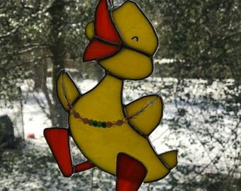Stained glass Easter duck