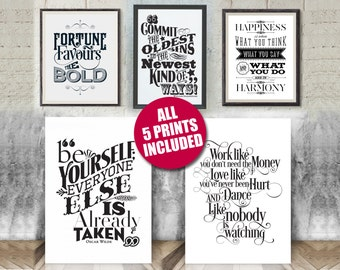 """5 Pack Special Offer. 5 Large Motivational Prints for a Low Price. (11""""x14"""")"""