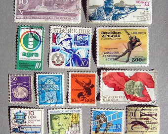 Vintage Stamps, Lot of East German Postage Stamps, German Democratic Republic Stamp Collection, Communism Stamps