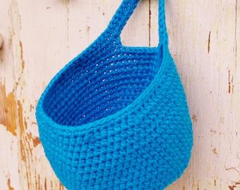 small blue hanging basket, door knob basket, nursery decor, nursery organization, home decor, kitchen organizer, home storage, bath basket