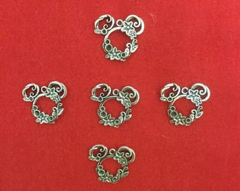 Set of 5 Flowered Mouse Head Pendant Charm