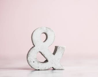 Concrete Ampersand | & Symbol | Cement | Home | Wedding | Love | Concrete Alphabet | Rose Gold | Copper | Gold | Personalised Gift