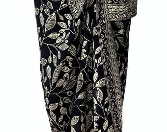 Black Beach Sarong Skirt Batik Pareo Women's Clothing Wrap Skirt - Hawaiian Maile Leaves Batik Pareo - Black & Creamy White Beach Sarong