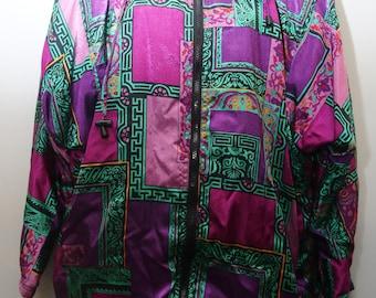 "Rare 90's Vintage ""RAFAEL"" Abstract Patterned Windbreaker JacketSz: MEDIUM (Women's Exclusive)"