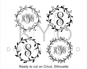 Wreath Monogram Frame SVG cut files, Floral Wreath SVG, Wedding Invitation svg, cuttable svg files for Cricut and Silhouette Cameo #svg