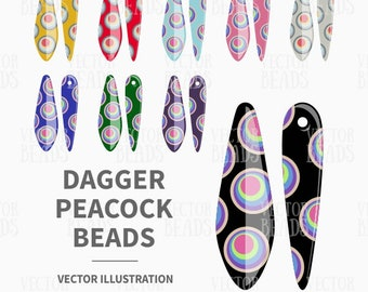 Vector Clip Art Set of Dagger Peacock Beads - Digital Beads - Instant Download