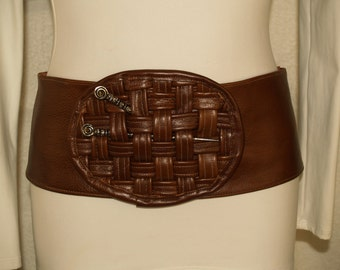 Brown Leather Belt with Basketweave Accent