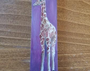 Giraffe Small Original Oil Painting 16x4.25cm OOAK