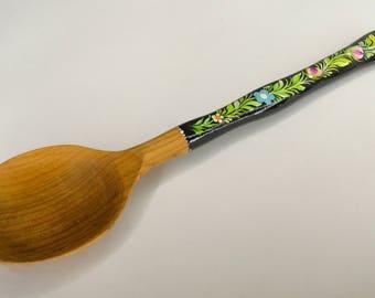Wooden spoon, Wooden painting spoon, Petrikovskaya painting