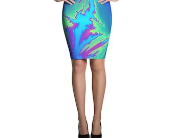 """Splash Abstract Pencil Skirt Indigo, Blue, Green, and Purple  - """"Faults' By Artist, Bobby Taylor"""