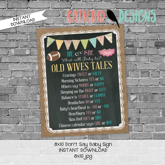 Old wives tales sign touchdown or tutu gender reveal invitation couples baby shower party game burlap lace chalkboard | 1431 Katiedid design
