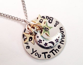 Hand stamped Love you to the moon and & back pendant polished initial stars