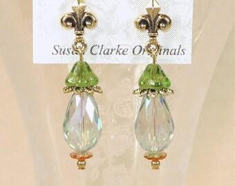 Fleur de Lis Crystal Drop Earrings- J-18