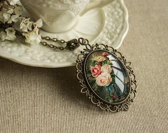Rose flower necklace - Bouquet necklace  - Glass necklace - Victorian necklace - Oval necklace - Bronze necklace - Filigree necklace