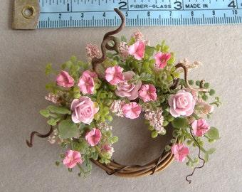Dollhouse Miniature Pink Rose and Petunia Wreath