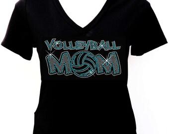2014 Volleyball Mom - Rhinestone T-shirt
