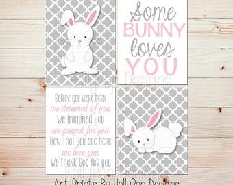 Nursery wall art Nursery decor Baby girl nursery print Bunny nursery art Pink gray Rabbit wall art Girls room art Before you were born #1807