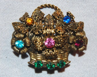 Large Rhinestone Brooch, Basket Flowers, Vintage old  jewelry