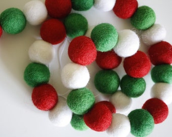 Pom Pom Garland - Felt Ball Christmas Garland - Holiday Mantle Decor - Red, White Green Garland - goldendrop - Merry & Bright + White