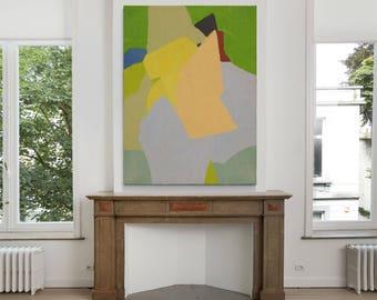 Abstract geometric oil Painting On Canvas,cobalt green Blue Minimalist Painting, Canvas Art,HAND PAINTED Original Art- MODERNISMARTSTUDIO