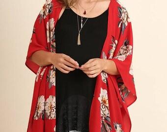 Floral Print Kimono Plus!