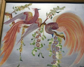 Hand Painted French Country Cottage Francais De Marche Procured Wall Decor Painting Of Fantasy French Birds