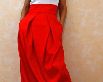 Red skirt, Skirts for women, Maxi skirt, Long skirt, High waist skirt, Cotton skirt, Party skirt, Skirts, Fashion skirt, Wedding skirt S4015