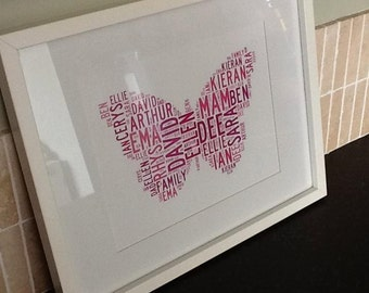 Personalised Butterfly Word Art Print - A4
