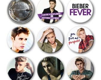 JUSTIN BIEBER - Pinback Buttons (set of 8)