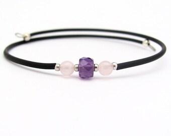 Amethyst Bracelet, Amethyst Rose Quartz Gemstone, Wrap Bracelet, Yoga Zen, Memory Wire Bracelet, Friendship Bracelet, February Birthstone