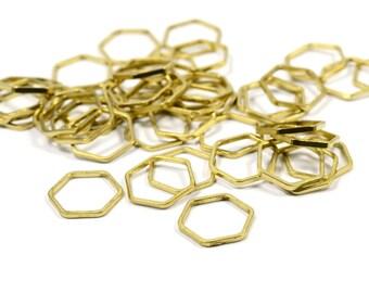 25 Pcs. Raw Brass 1x12  mm Hexagon Geometric Findings