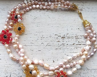 25% OFF - Blush pink fresh water pearl and colourful Swarovski crystal necklace with gold plated metal parts