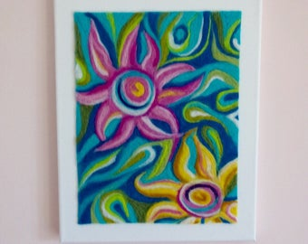 SALE felted art, abstract flower art, felted flower art, felted canvas, floral art canvas, felted flower picture, wool painting,