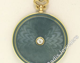 "Antique Solid 21"" 14k Yellow Gold Blue Enamel Guilloche and Old Mine Cut Diamond Round Locket Pendant Necklace"