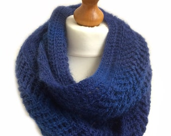 Blue, Lace Knitted, Alpaca Infinity Scarf