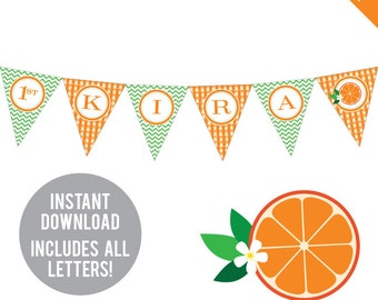 INSTANT DOWNLOAD Orange Party / Little Cutie Party - DIY printable pennant banner - Includes all letters, plus ages 1-18