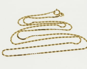 "14K 1.1mm Geometric Pressed Triangle Link Chain Necklace 21.75"" Yellow Gold"