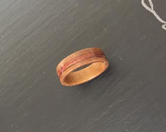Handmade Crepe Myrtle Bentwood Ring with Paldao Inlay - Size 7.5