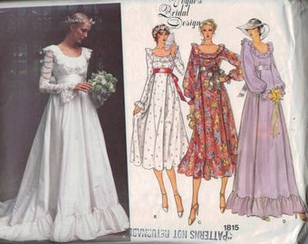 1970s Vintage Sewing Pattern Vogue 1815 Misses Bridal Bridesmaid Gown Dress Long High Waisted Size 8 or 12 or 14 Bust 31 32 34 36