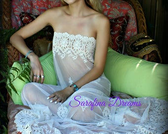 Strapless Lace Nightgown Bridal Lingerie Wedding Nightgown Sleepwear Embroidered Lace Gown Strapless Bridal Gown Ivory Lace Nightgown