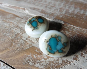 Peacock + Turquoise Green Post Earrings // Fused Glass