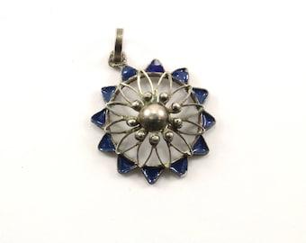 Vintage Enamel Floral Design Pendant 925 Sterling PD 1290