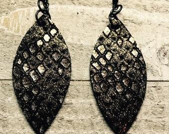 Leather earrings, Leather, Earrings, Metallic earrings, Soft leather, Bronze earrings, Bold earrings, Drop earrings, Lightweight earrings